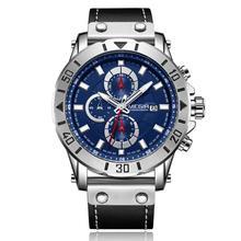 MEGIR luxury watch Fashion Leisure three-eye chronograph leather wild men's quartz watch 2081 цена и фото