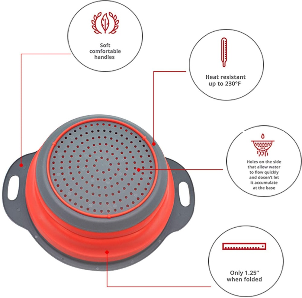 Food Grade Silicone Colanders Strainers Set of 2 5