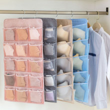 Double Sided Storage Bag Cotton Linen Hanging Wall Mounted Dormitory Wardrobe Artifact