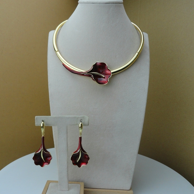 Yuminglai Dubai Fine Jewelry Beautiful Rose Flower Jewelry for Women  FHK9553