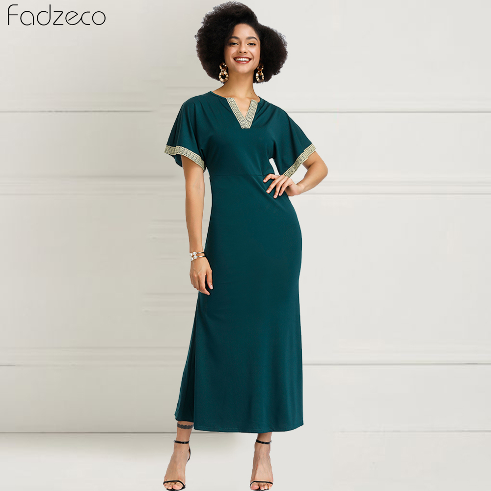 Fadzeco New African Dress For Women Sexy Ethnic Lace Woven V-Collar Dress Slim Dashiki African Dress For Women Fashion