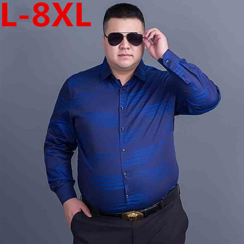 BIG SIZE Classic Striped Men Dress Shirts Long Sleeve Business Formal Shirts Male Casual Shirts Camisa Masculina Camisas Hombre