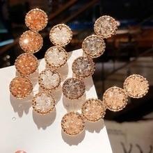 1pcs Fashion Korea Crystal Rhinestones Hair Clips Girls Hairpins Geometric Round Hairgrip Women Barrette Accessories