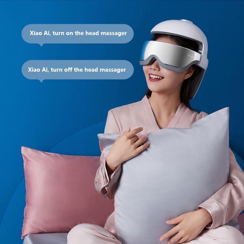 Youpin Momoda Голова Массажер Smart Успокаивает Глаза Расслабление Шея +Голова Acupoint Массаж Шлем Музыка Горячие Сжатие Сяоай Голос Управление