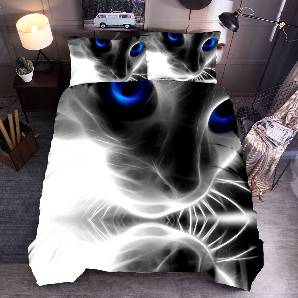 For Black And White Cat 3D Animal Europe And America Textile Kit Three-piece Set Beddings Quilt Cover