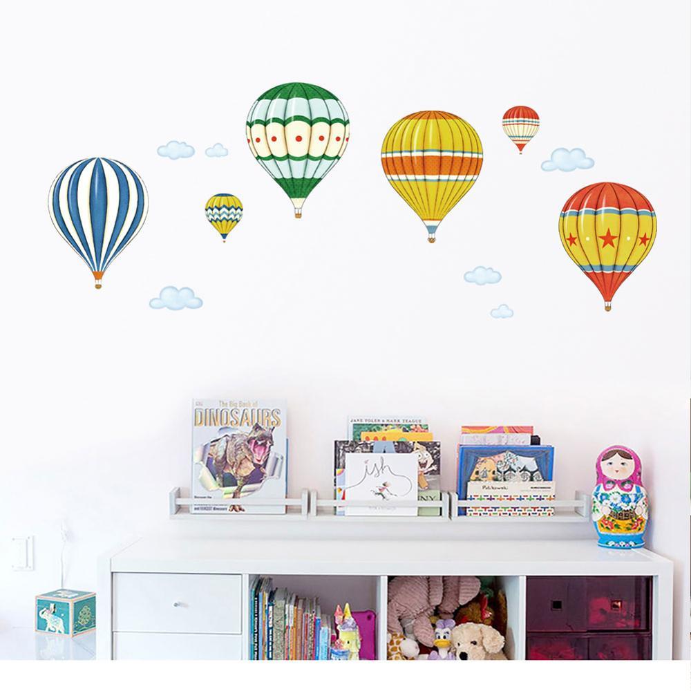 Cartoon Multicolor Hot Air Balloon Wall Stickers Bedroom Kids Rooms  Decoration Art Mural Stickers Nursery Wallpaper Home Decor