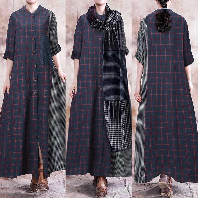 Retro Solid Linen Dress Women's Summer Sundress ZANZEA 2020 Casual Long Sleeve Tunic Vestidos Female O Neck Plaid Oversized
