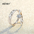 NEHZY 925 Sterling Silver New Woman Fashion Jewelry High Quality Simple Crystal Zircon Antler Opening Adjustable Couple Ring