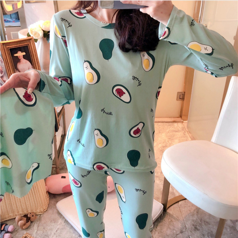 2019 Spring And Autumn Hot Selling Long Sleeve Qmilch Pajamas Women's Cartoon Avocado Homewear Set With Cloth Bag