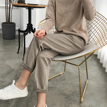 Warm Thicken Winter Women Suit Pants Elastic Waist Women Pencil Pants Plus Size Office Ladies Long Pants Elegant Women Trousers 2