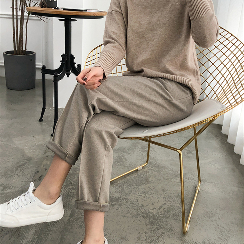 Warm Thicken Winter Women Suit Pants Elastic Waist Women Pencil Pants Plus Size Office Ladies Long Pants Elegant Women Trousers Women Women's Clothings Women's Pants/Trousers