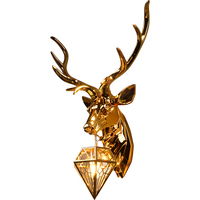 Deer Head Wall Lamp for Living Room Bedroom Wall Sconce Light Fixture Nordic Light Luxury Gold Decorative Wall Lamp Lighting