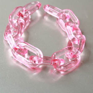 Chain-Links Necklace Acrylic-Chunky Transparent Plastic Pink 50pcs Open Clear Size-28mmx18mm