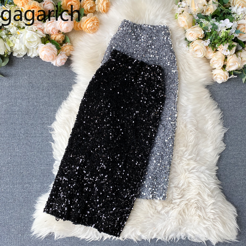 Gagarich Women Sexy Sequins Skirts Korean Elegant Knee Length Bodycon Jupe Spring Femme Trend High Waist Slim Shinny Skirt Chic