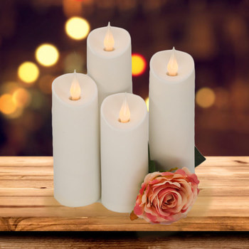 LED Plastic Candles Flickering Flameless Battery Pillar Lights Dancing Flame, for Birthday Party Christmas Home Decor 10 pcs red led electric candles flameless tea lights fake velas flame votive timer tealight home xmas tree festive wedding decor