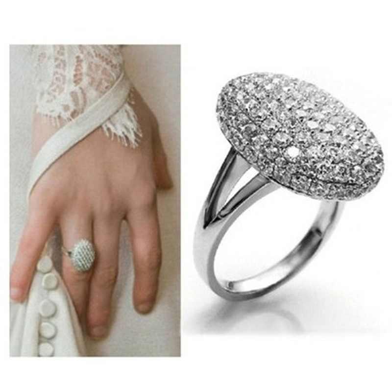 ชุบ Anillos Silver Queen PROMISE Luxury ภาพยนตร์ Twilight Saga Rhinestones ดวงจันทร์ Bella สาวแหวนคริสตัลเครื่องประดับของขวัญ