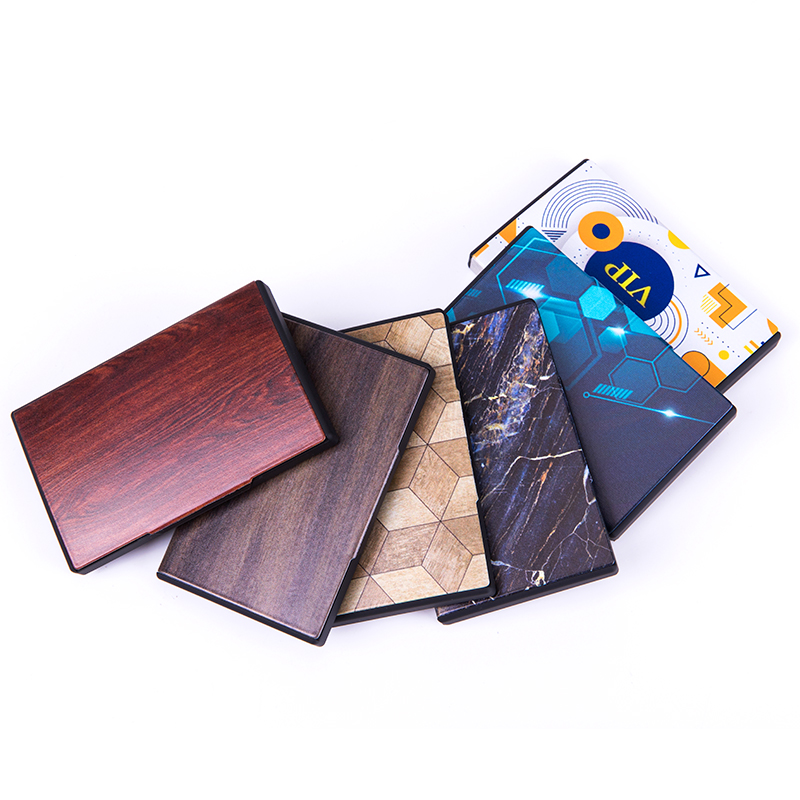 BISI GORO Metal Business Card Box 2020 Fashion Name Card Case RFID Blocking Smart Wallet Different Pattern Credit Card Holder