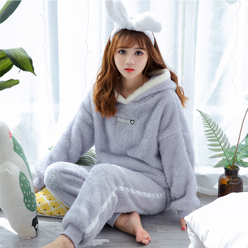 Korean-style Girl'S Pajamas Long Velvet Thermal Suit Cartoon Cute Hooded Two-Piece Set Sweet-Outer Wear Tracksuit