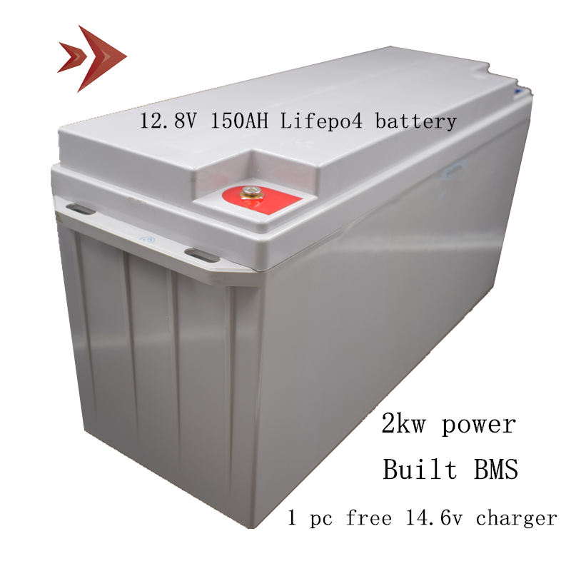 <font><b>12V</b></font> <font><b>150Ah</b></font> Lifepo4 <font><b>Lithium</b></font> <font><b>Battery</b></font> 2KW Power Energy Free Maintenance for Solar Energy System RV Golf Cart Boat UPS Outdoor Tool image