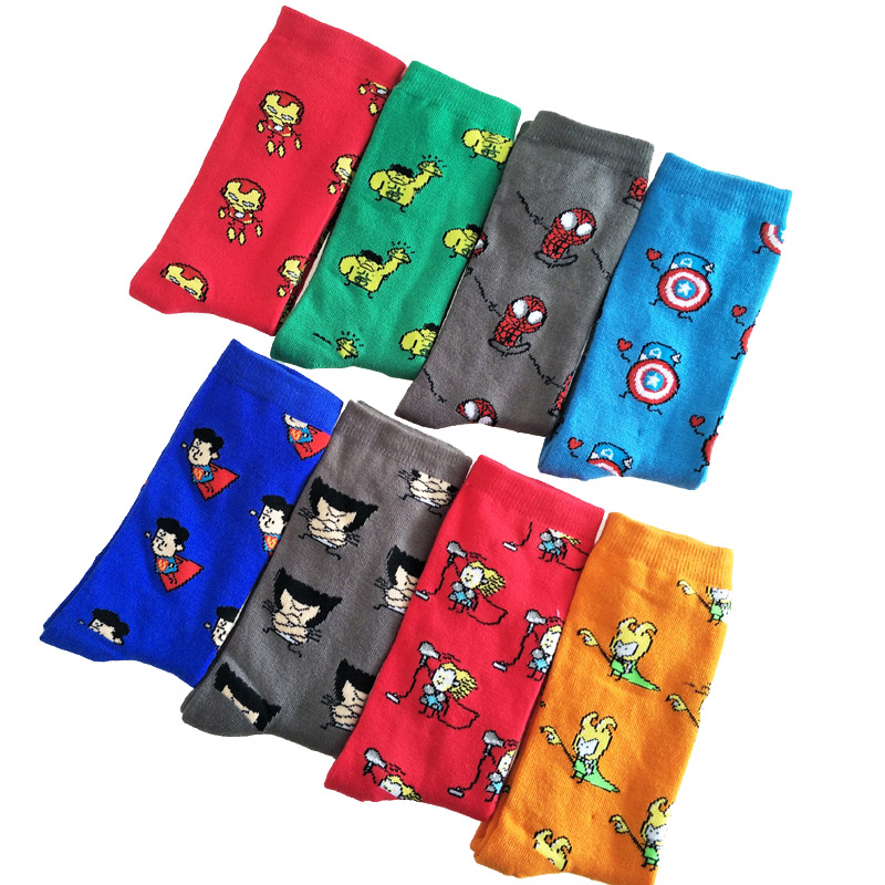 Cartoon Sock Hip Hop Happy Socks Creative Soft Comfortable Funny Novelty Black Green Men Cotton Calcetines Hombre Divertido