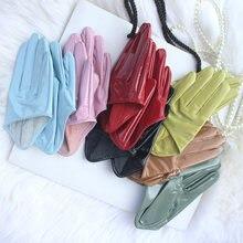 Дамы настоящие патентные кожаные перчатки половинчатые овцы