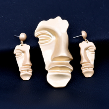 New Vintage Abstract Mask Gold Face Earrings West Assembly Womens Prom Fashion  Alloy Jewelry Personality Exaggeration