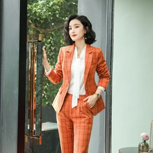 High quality winter womens temperament pants suit 2019 trendy check jacket female Casual business two-piece