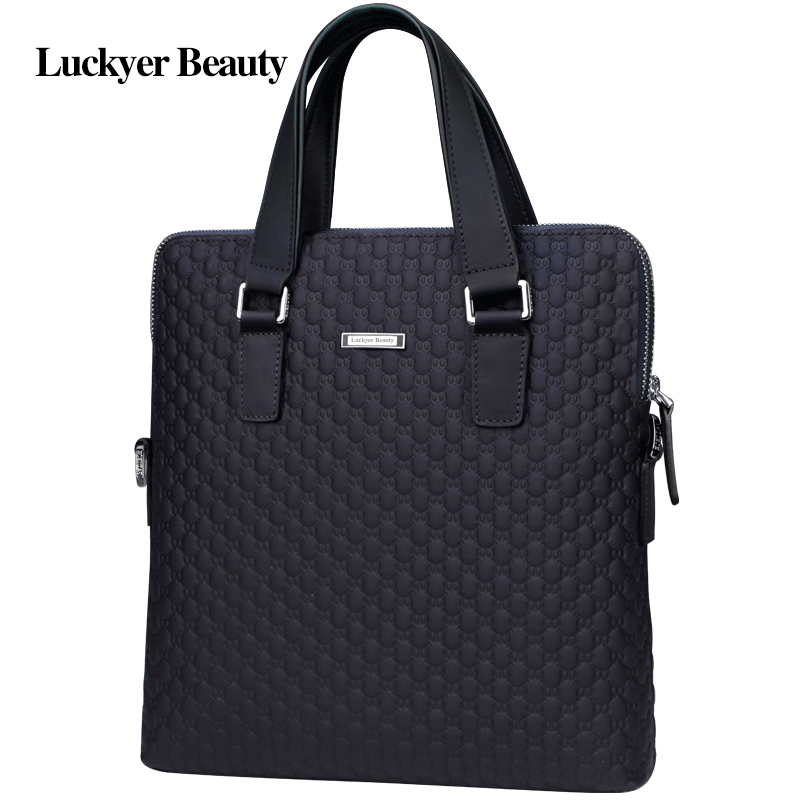 LUCKYER BEAUTY Men Bag Briefcase Leather A4 Bag Messenger Handbag Purses Jobs Genuine Leather