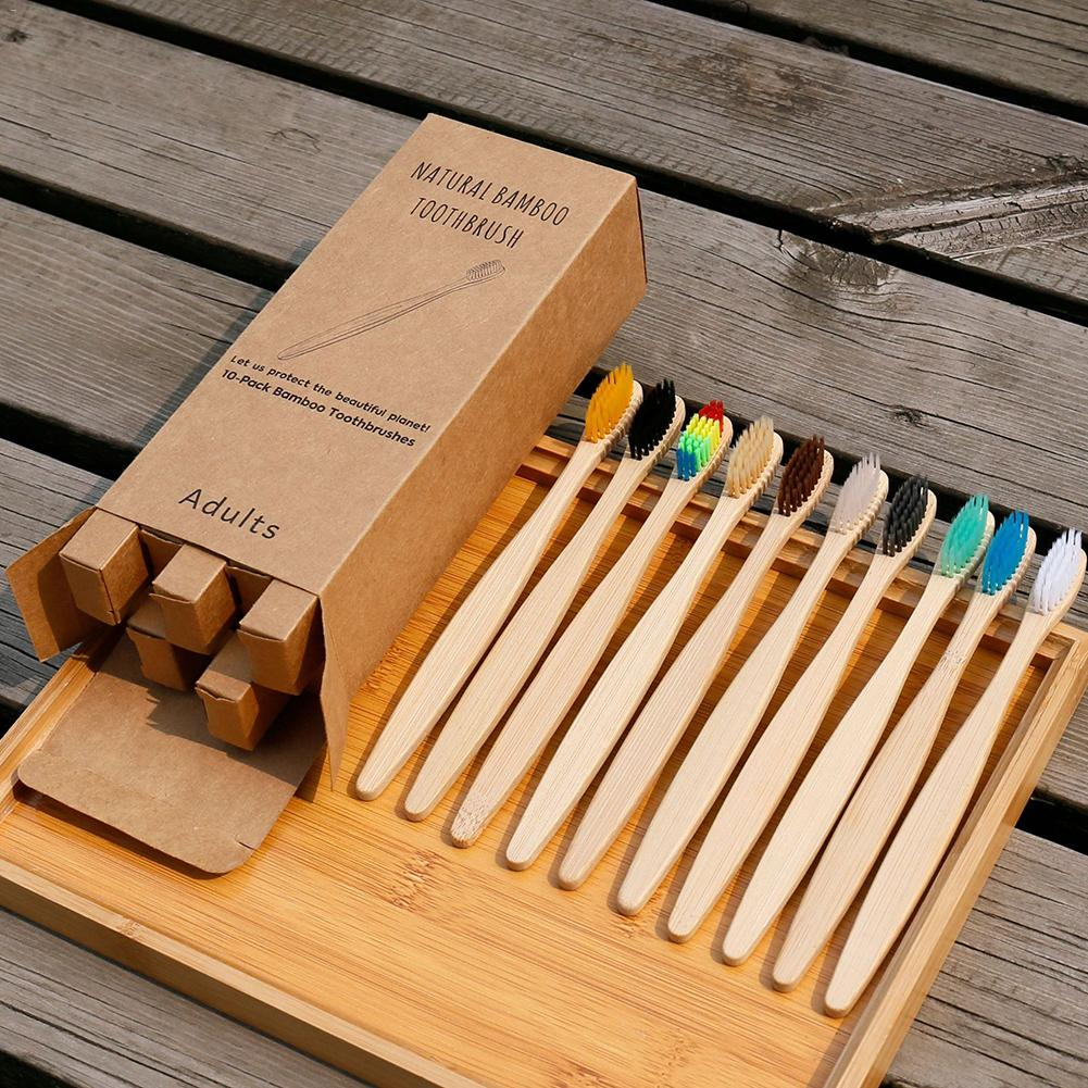 10Pcs/Set Toothbrush Eco-Friendly Rainbow Bamboo Soft Fibre Toothbrush Biodegradable Teeth Brush Solid Bamboo Handle Toothbrush