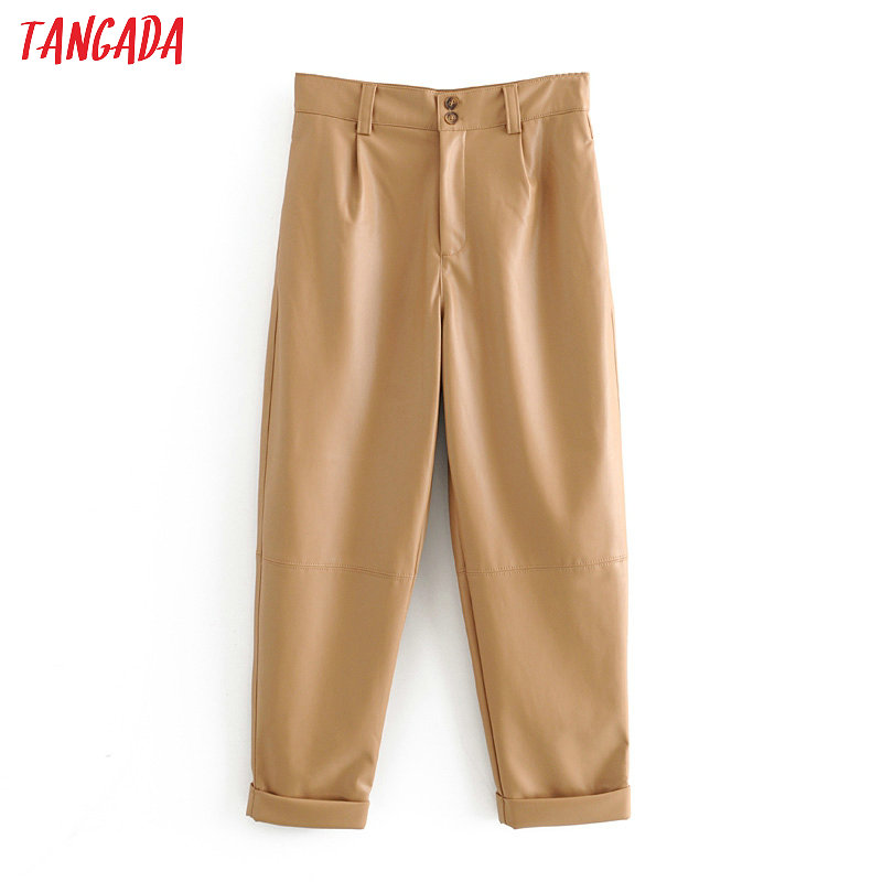 Tangada Women Khaki PU Leather Harm Pants Zipper Female 2020 Spring Fashion Faux Leather Pants Trousers 6A62