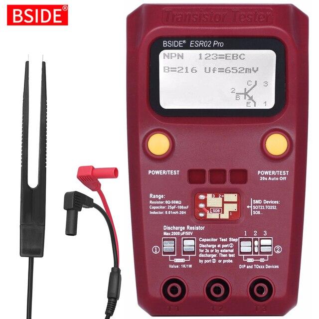BSIDE ESR02PRO Digital Transistor Tester Multimetro Componenti SMD Diodo Triodo di Capacità di Induttanza Resistenza Lcr Meter