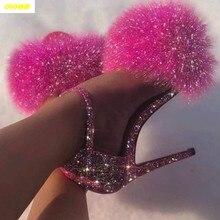 2020 gota feminina sandálias de salto alto bandagem strass tornozelo cinta bombas super saltos altos 11 cm saltos quadrados senhora sapatos