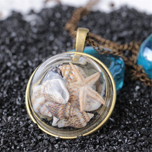 New 2019 Ocean Beach Glass Cover Pendant Necklace Vintage Conch Starfish For Women