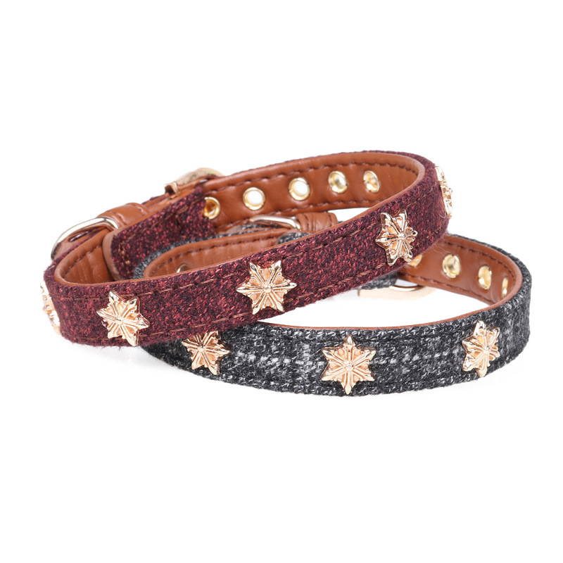 Amin Lattice Origional Star Woolen Cloth Pet Collar Pu Dog Neck Ring Dog Collar