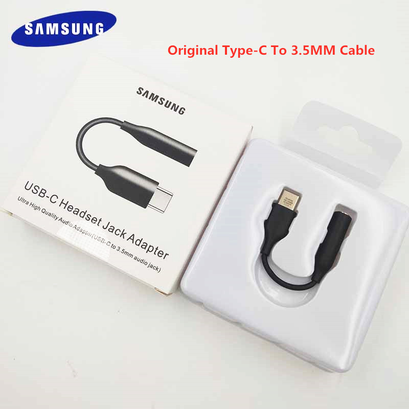 Original Samsung Earphone Audio Cable USB Type C To 3.5MM Headset Jack Adapter For Galaxy A90 A60 A80 A8S Note10 Note 10 + Mi 9