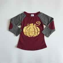 Детский осенний кардиган для мальчиков/осенний реглан для девочек, Хэллоуин регланы для маленьких мальчиков винно-красного цвета с рисунком на тему с Золотая Тыква детские топы, милые рубашки