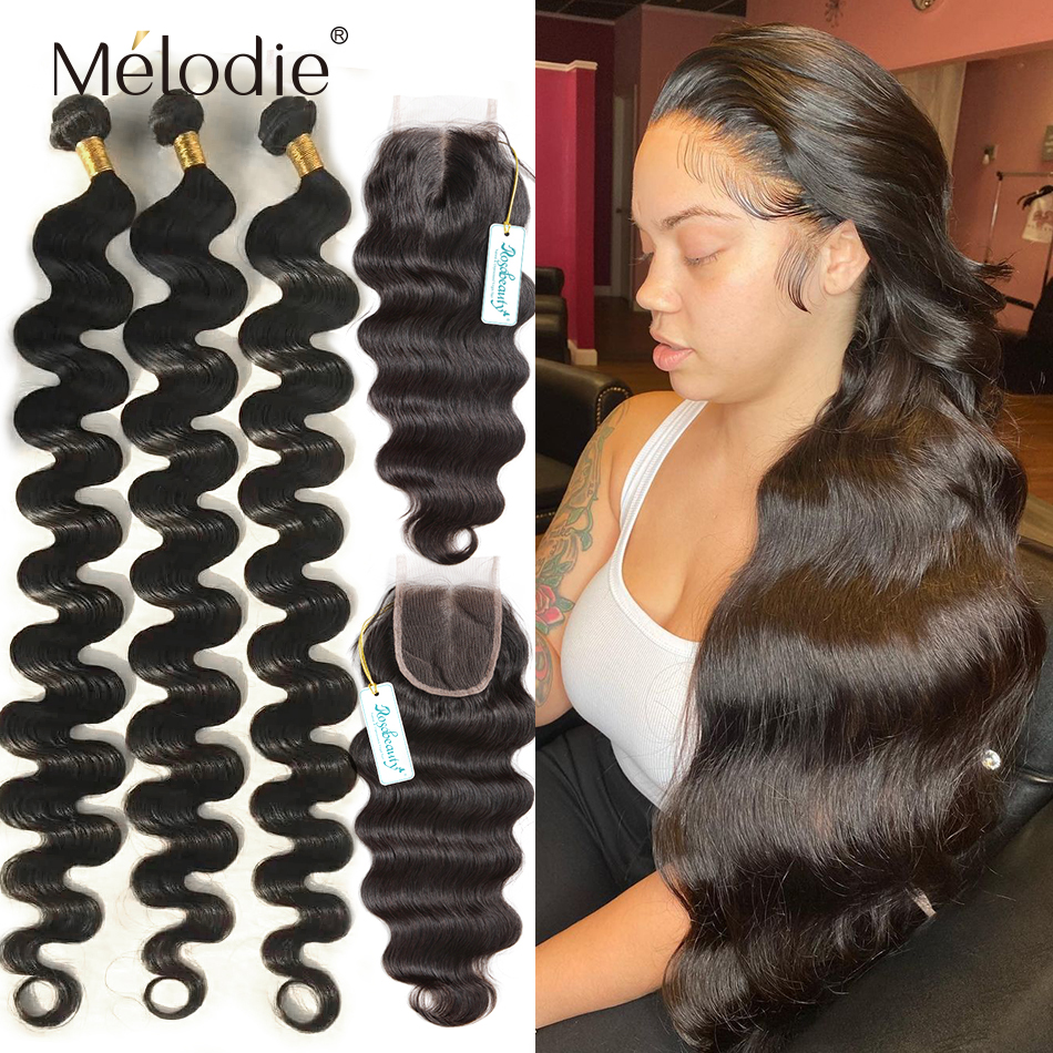 Body-Wave-Bundles Closure Human-Hair Virgin-Frontal 32-Inches Brazilian with And 28-30