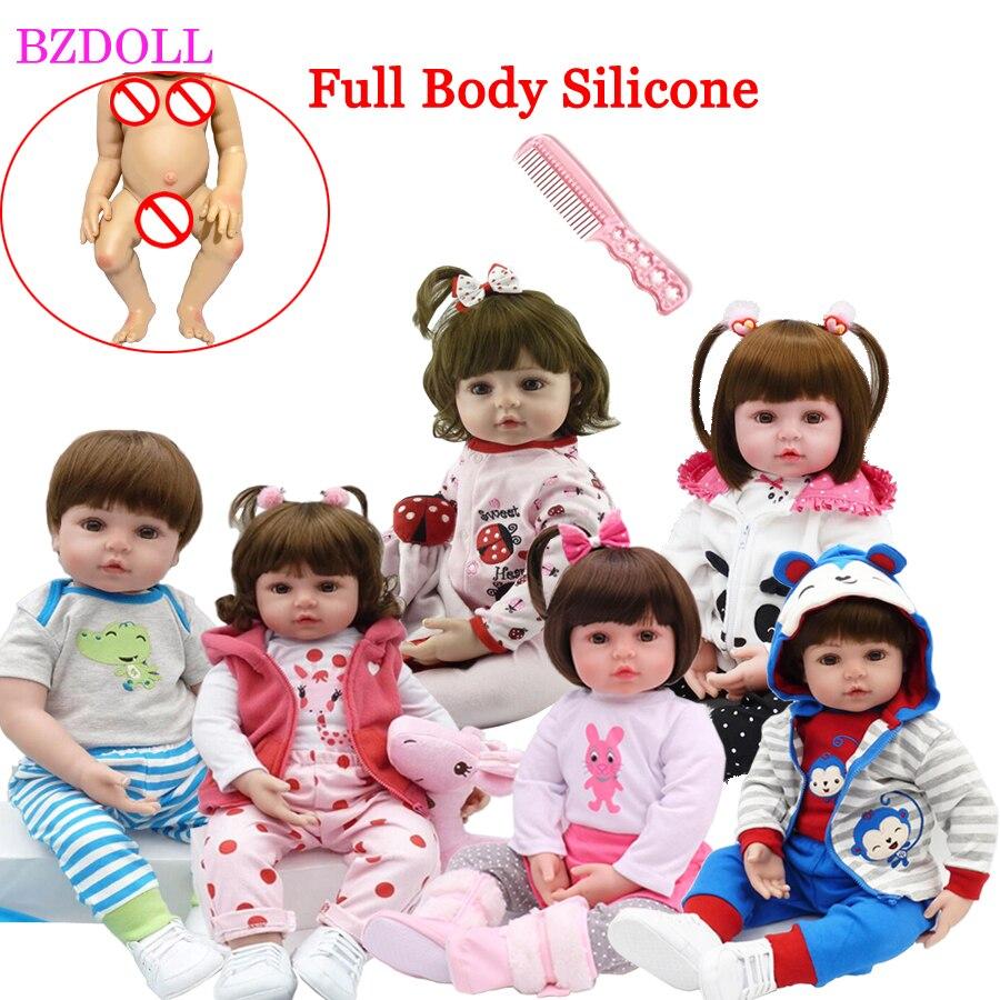 48Cm Full Siliconen Zachte Lichaam Reborn Baby Pop Speelgoed Zoals Alive Baby Prinses Babies Verjaardagscadeau Mode Aanwezig Meisjes bonecas