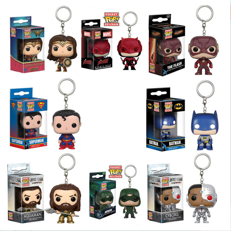 FUNKO POP DC Comics Justice League Wonder Woman Arrow THE FLASH Keychain Vinyl Action Figures Toys for Children XMAS Gift image