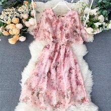 Женское шифоновое платье с коротким рукавом Элегантное повседневное