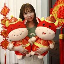 Chaude 20-50cm 2021 nouvel an chinois zodiaque boeuf bovins en peluche jouets rouge Tang costume lait vache mascotte en peluche poupée en peluche pour enfants cadeau