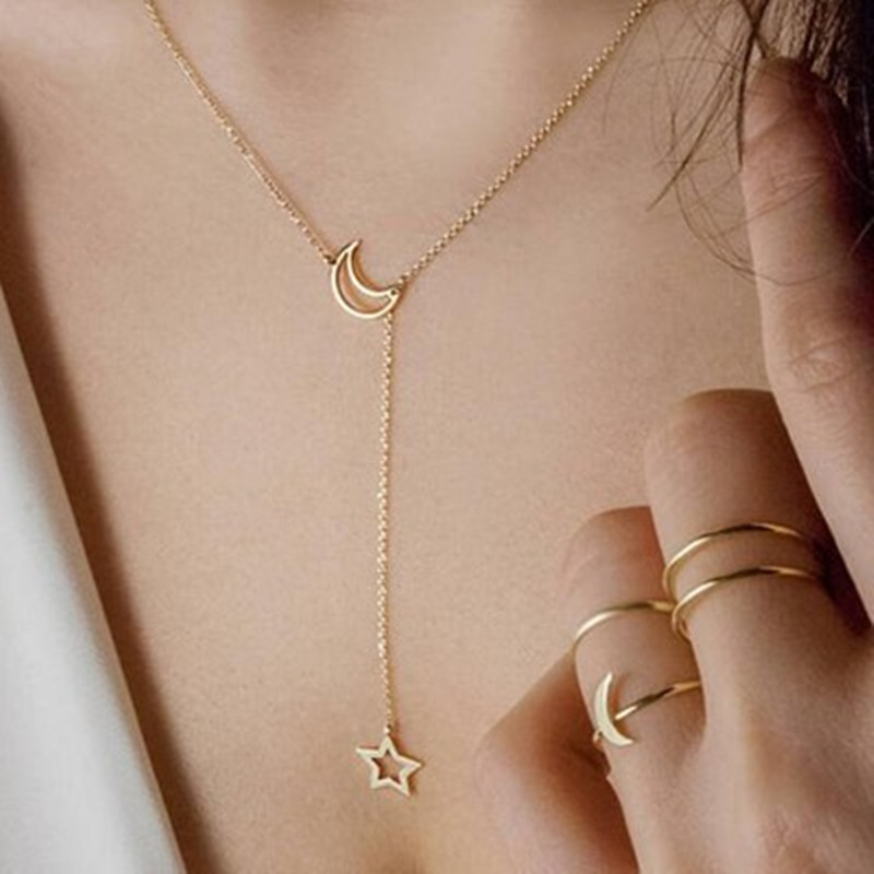Women S Moon And Star Clavicle Chain Fashion Trendy Short Necklace