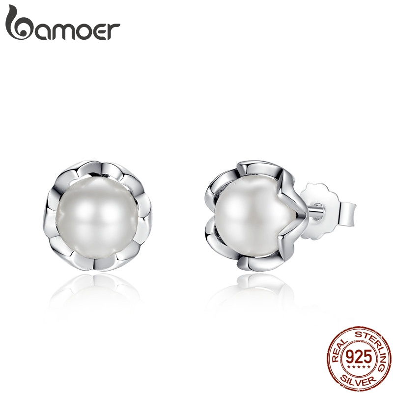 BAMOER 925 Sterling Silver Cultured Elegance Stud Earrings With White Fresh Water Cultured Pearl Sterling Silver Jewelry PAS420