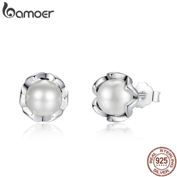BAMOER 925 Sterling Silver Cultured Elegance Stud Earrings With White Fresh Water Pearl Jewelry PAS420 - discount item  46% OFF Fine Jewelry