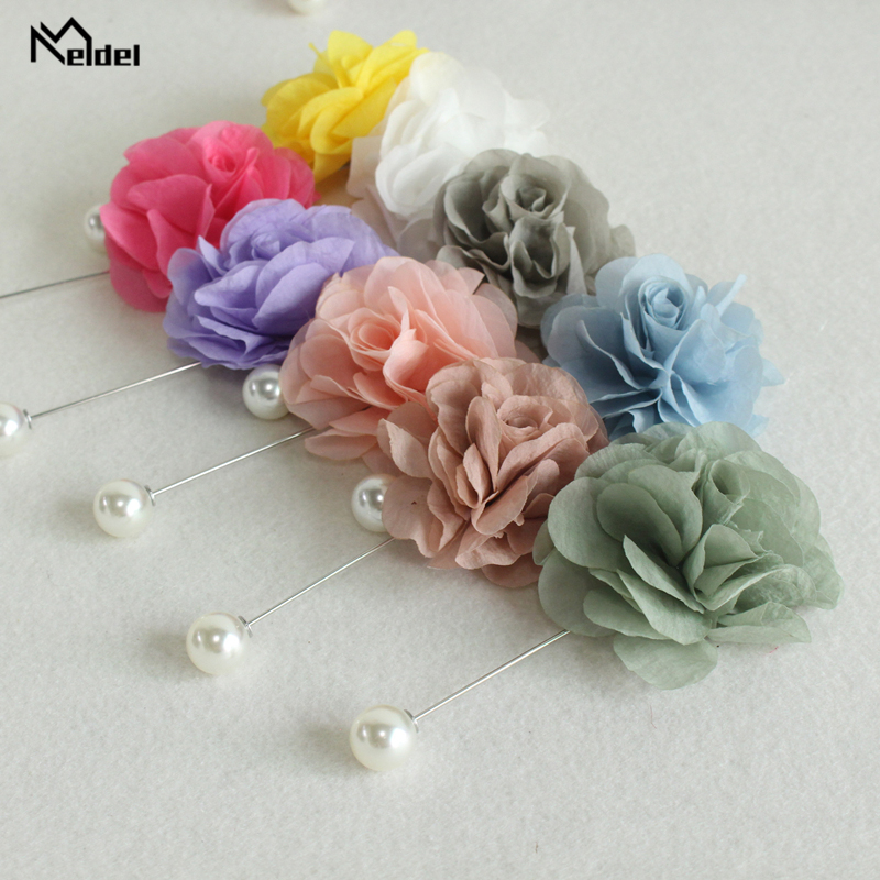 Meldel Wedding Corsage Groom Boutonniere 2pcs Brooch Corsage Wedding Planner <font><b>Marriage</b></font> Accessories Prom Party Meeting Supplies image