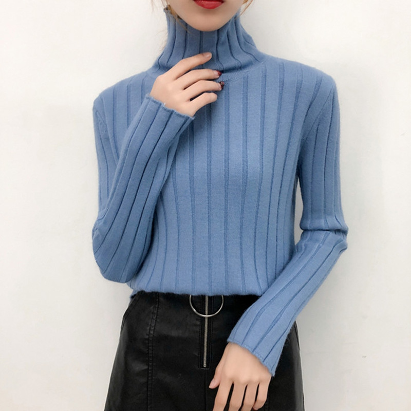 Autumn Winter Women Sweaters Fashion Turtleneck Solid Color High Collar Knitting Top Long Sleeve Casual Sweater Pullovers