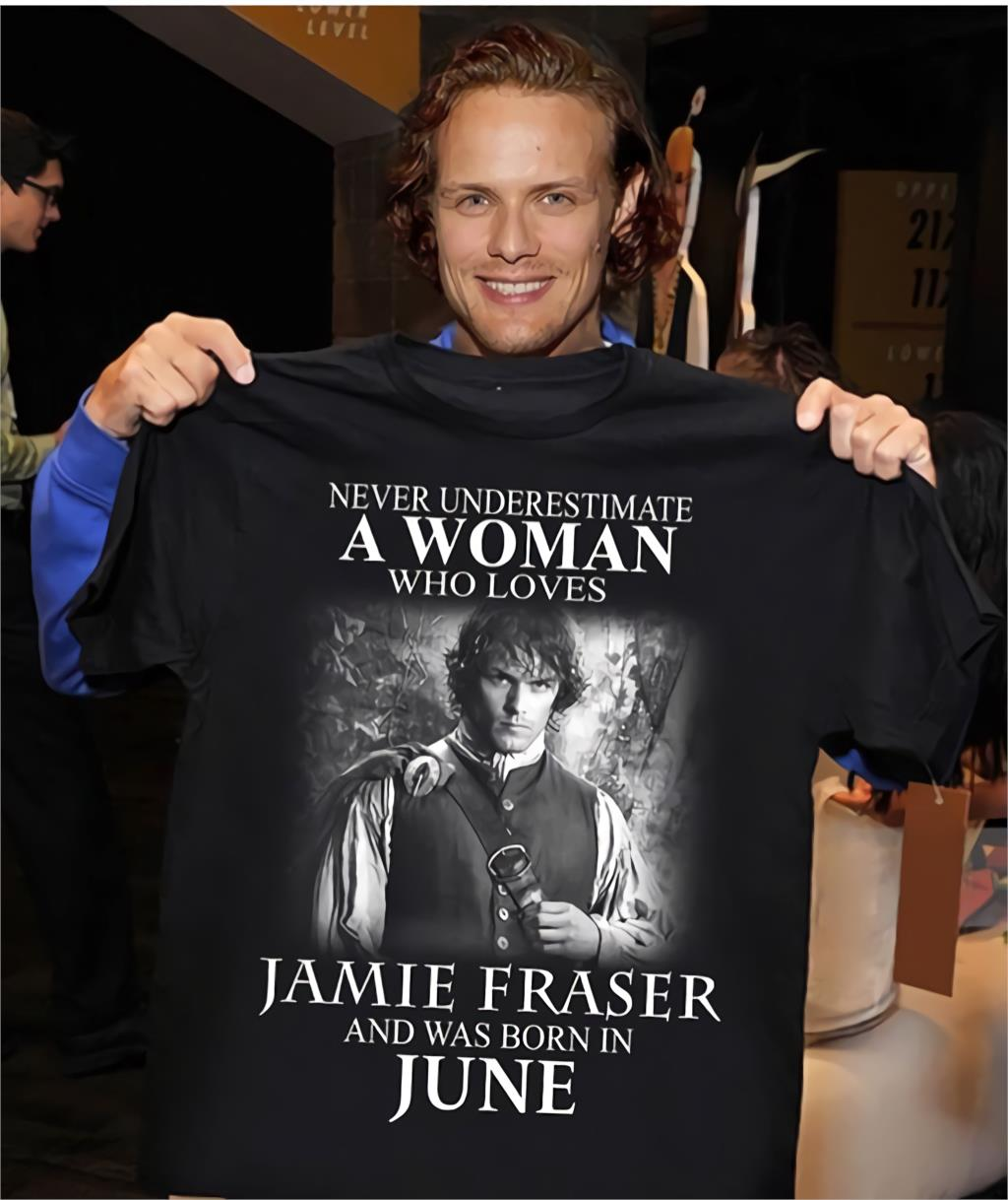 Never Underestimate A Woman Who Loves Jamie Fraser And Was Born In June 2020 Summer Men's Short Sleeve T-Shirt