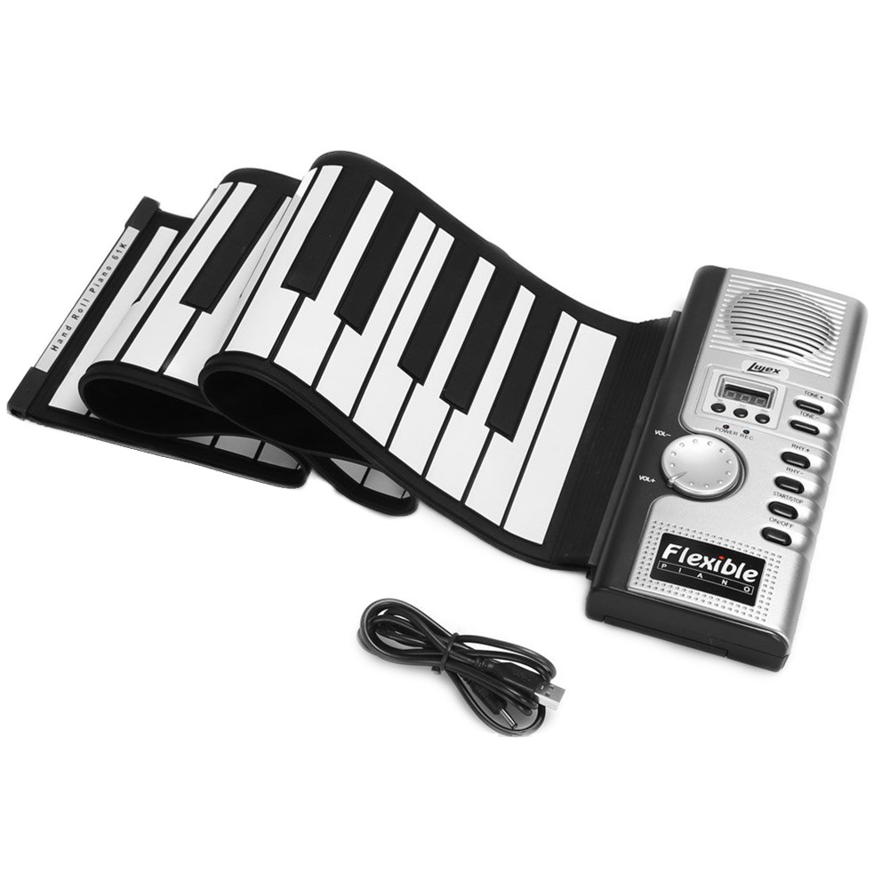 Piano Silicone Children Electric Foldable Keyboard Soft Roll Up 61 Keys Flexible Digital