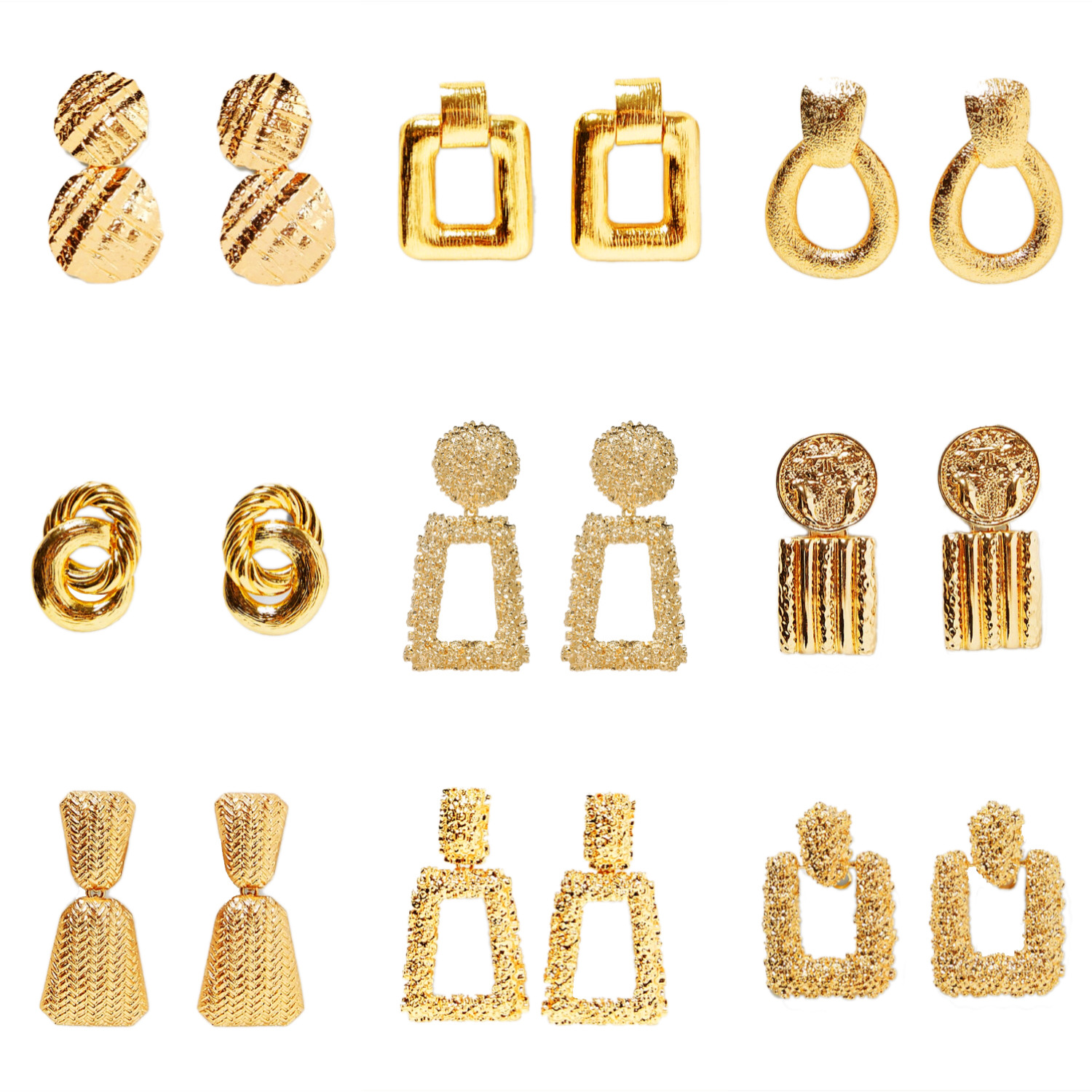 New style simple earrings with gold color alloy circle square geometric tassel earrings retro Earrings for women wholesale