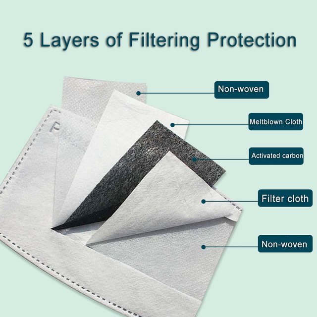 PM2.5 Anti dust Mouth Mask Anti-fog Activated carbon Filter Face Masks bacteria proof Flu Anti Pollution Multicolor Print masque 5